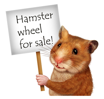 Hamster holding a sign advertising that his wheel is for sale!