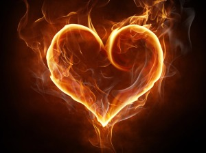 heart shape of fire