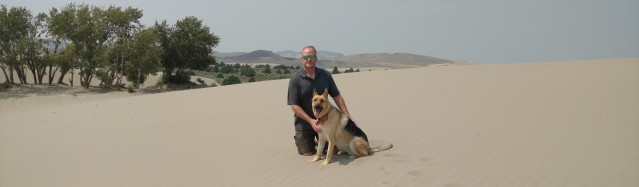 The author's husband and dog