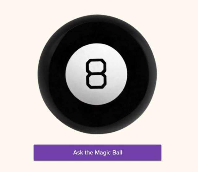 Image of Magic 8 Ball with link to Ask the Magic 8 Ball site