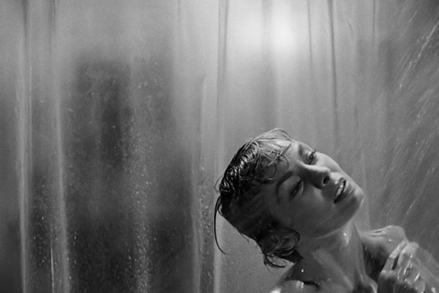 Anticipatory shower scene from Alfred Hitchcock's movie Psycho.