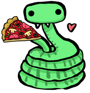 snake eating pizza