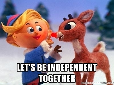 Hermie the elf and Rudolph: Let's be independent together