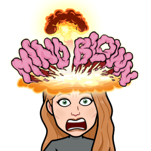 Bitmoji character with blown mind