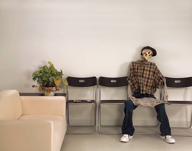 skeleton in waiting room