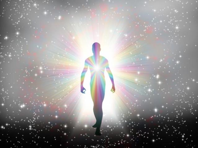 Outline of a person, body, in space, streaming light