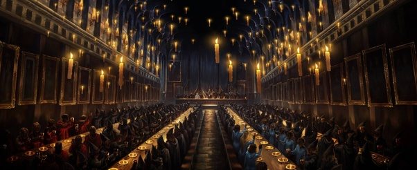 Hogwarts main hall, with the four different humongous house tables. I know you're wondering what's floating in the air in this picture -- it's lit candles!