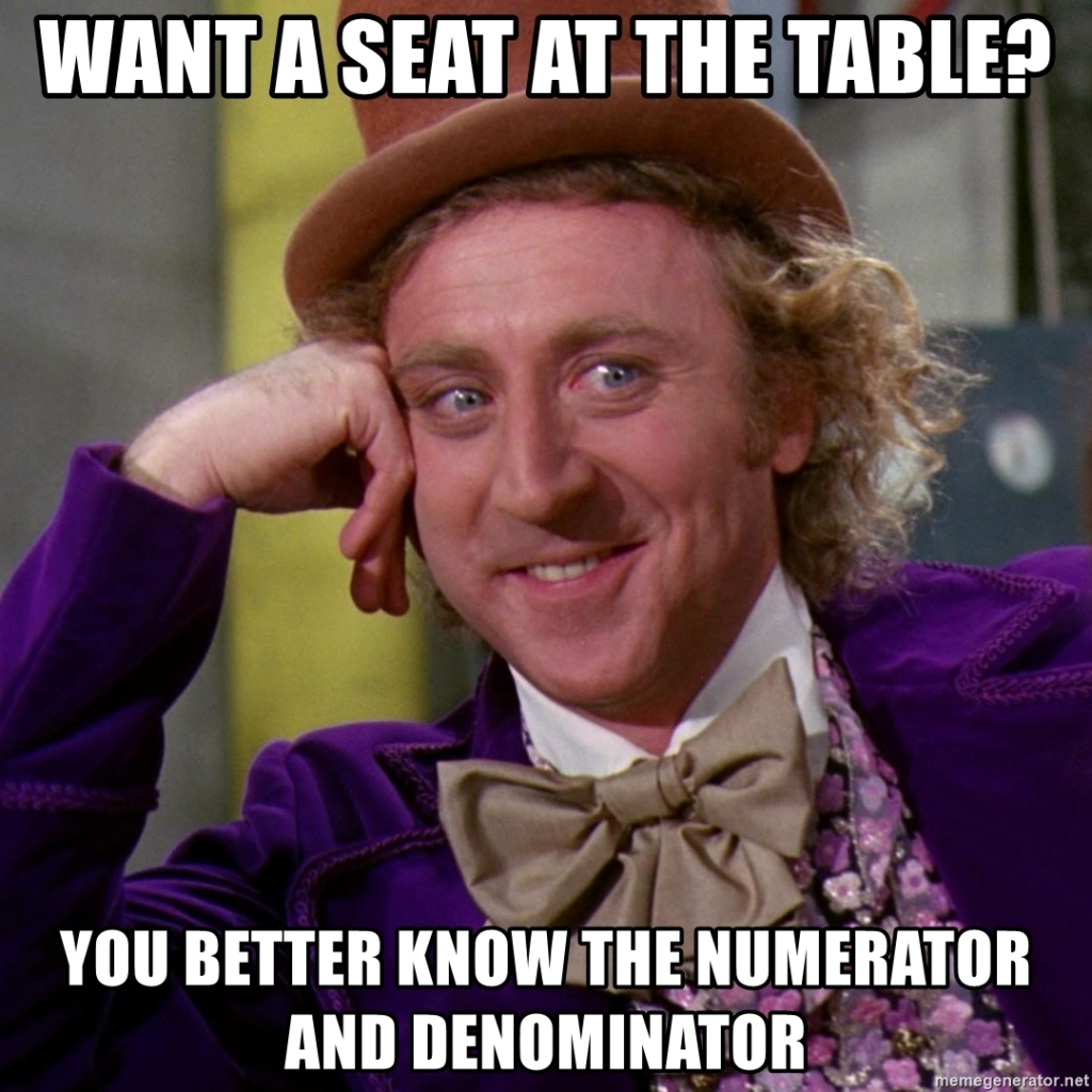 Willy Wonka meme: want a seat at the table? You better know the numerator and the denominator