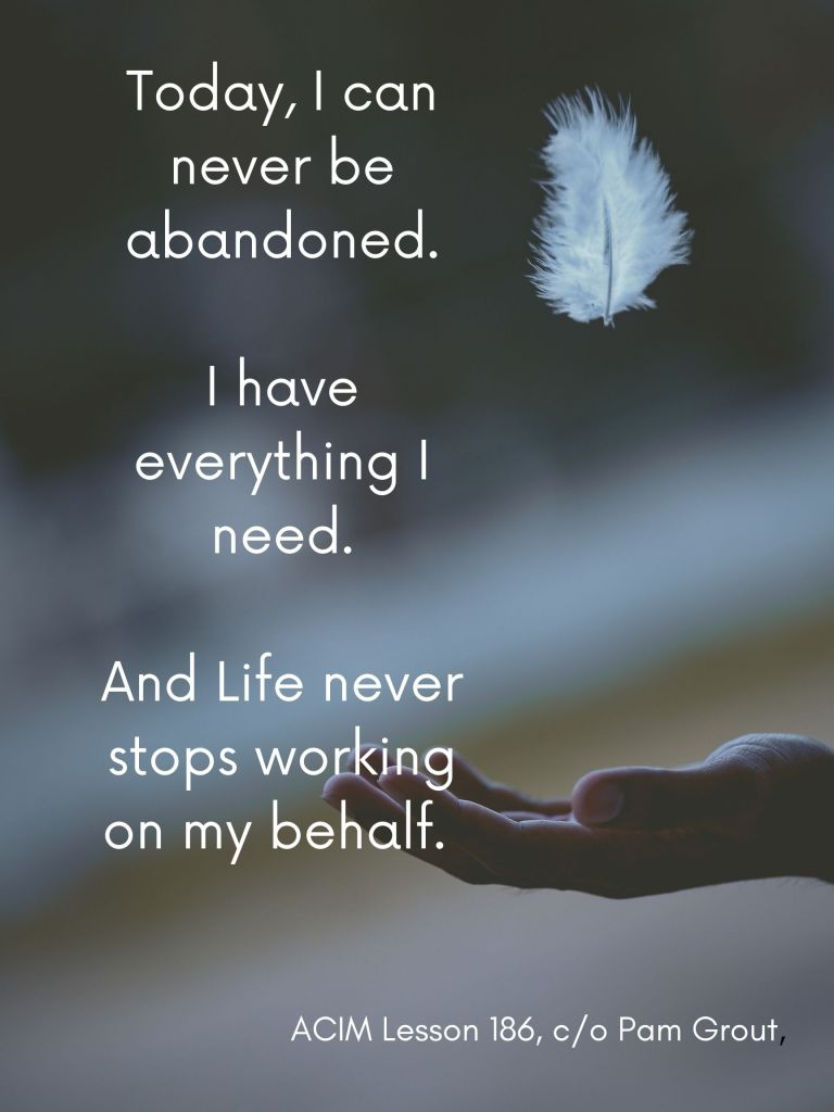 Today, I can never be abandoned. I have everything I need, and life never stops working on my behalf. A course in miracles lesson 186, as interpreted by Pam Grout.