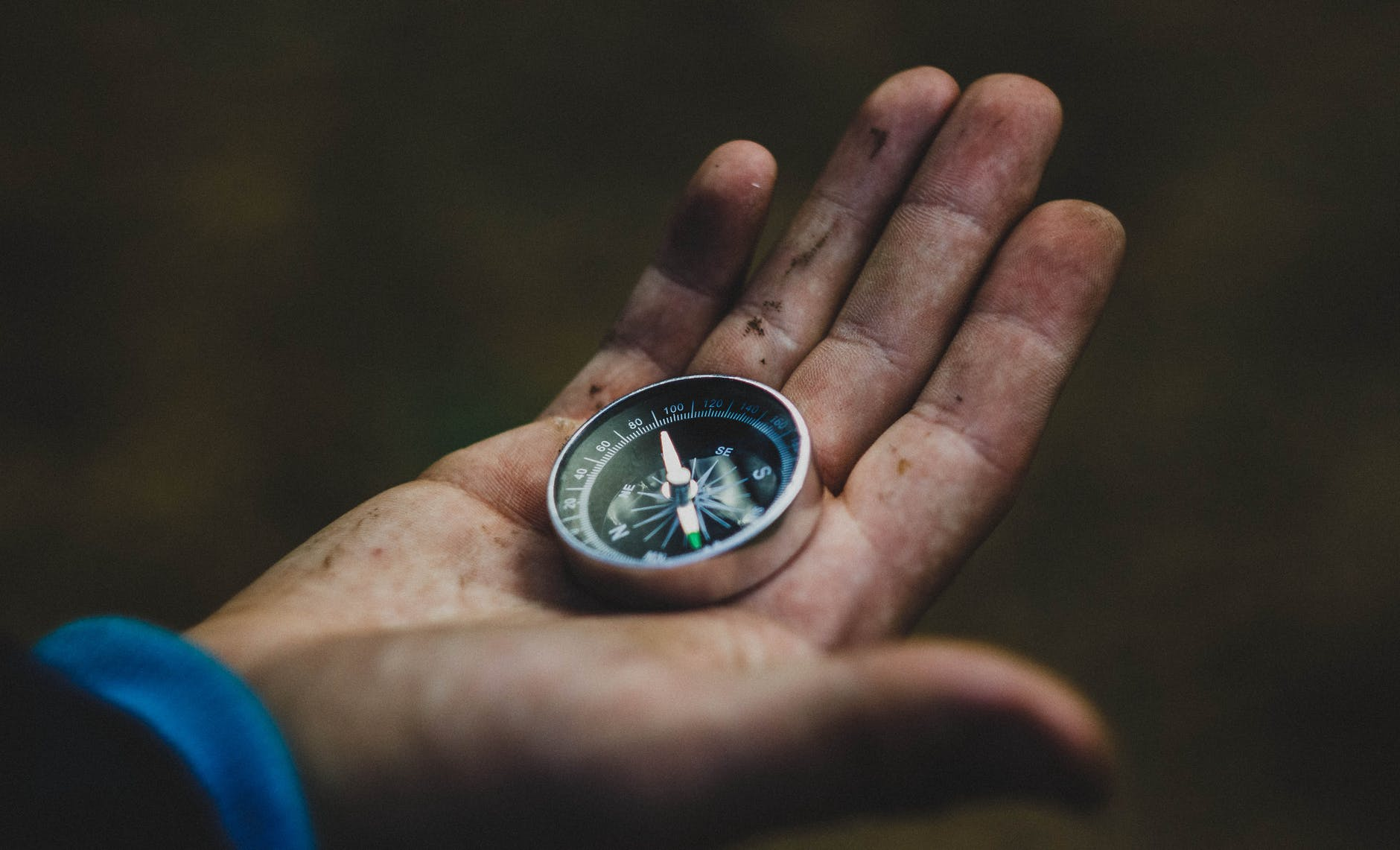 open hand with a compass in the palm